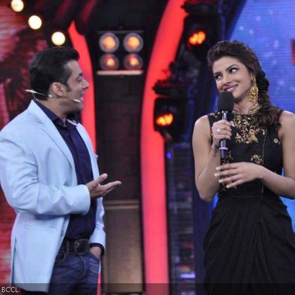 Bollywood actors Salman Khan and Priyanka Chopra on the sets of Bigg Boss 7. Priyanka graced the show to promote her film Krrish 3, in Mumbai.