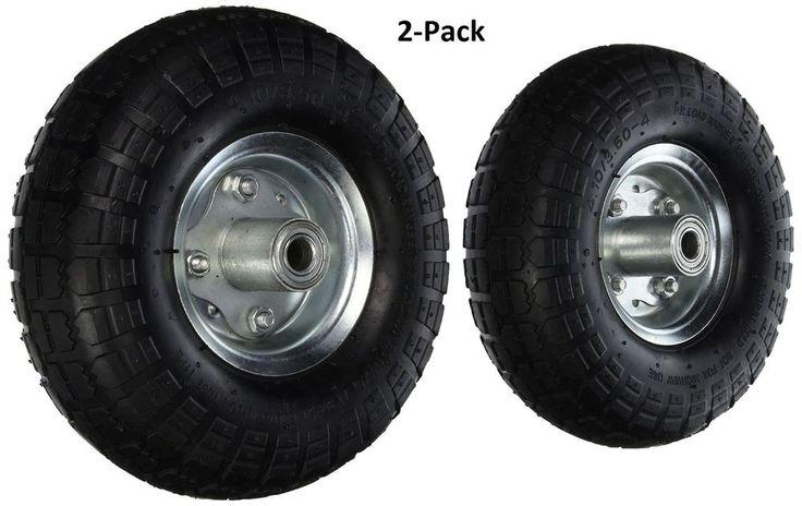 10 Inch No Flat Tire Garden Air 2 Pc Farm And Ranch Cart Wheel Replacement Black #CartWheel