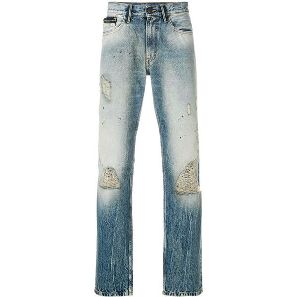 Ck Jeans vintage effect straight jeans ($175) ❤ liked on Polyvore featuring men's fashion, men's clothing, men's jeans, blue, mens mid rise jeans, mens vintage jeans, mens straight jeans, mens destroyed jeans and mens blue jeans