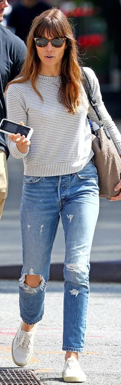 Who made Jessica Biel's brown sunglasses, jeans, white stripe top, tan handbag, and white sneakers?