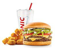 Photo of a Sonic Combo which includes a drink, burger and tots