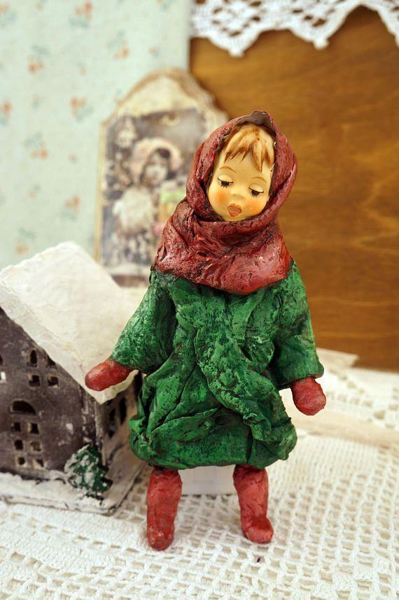 Cotton Batting Christmas Ornament  Spun Cotton Vintage Style