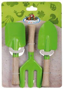 Esschert Design USA KG106 Childrens Small Garden Tool Set, Green by Esschert Design USA. $10.12. Child size garden tool set is perfect for little hands to help with the gardening. Lightweight wooden handles and bright green metal tool heads. Three piece set includes one each of a shovel and rake and spade. This childs garden tools set is the perfect size for small hands and encourages kids to help with the gardening chores. This three piece set includes a spade, shovel and ra...
