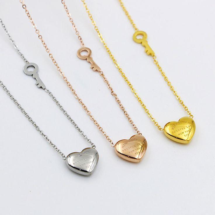 2016 мода titanium ювелирные изделия навсегда Любовь Сердца Ключ Ожерелье роуз позолоченные форме сердца Ключ кулон навсегда любовь подарок купить на AliExpress