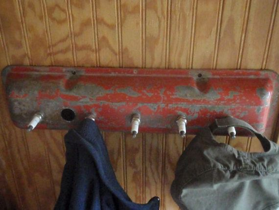 Vintage Chevy Valve Cover Coat Rack  Repurposed and