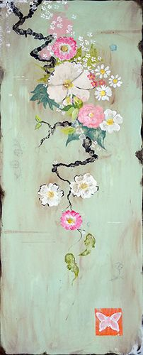 Kathe Fraga paintings, inspired by the romance of vintage Parisian wallpapers and Chinoiserie Ancienne. 40x16 on aged frescoed panel. www.kathefraga.com