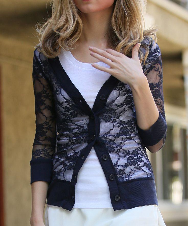 Navy Lace Three-Quarter Sleeve Cardigan