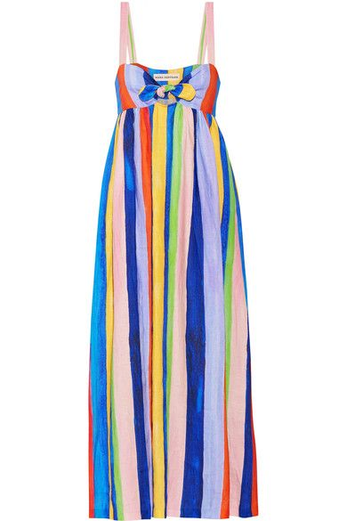 "Mara Hoffman believes that ""there are options and alternatives in this industry to manufacture responsibly and with care."" Made from organic linen, this empire-style dress is patterned with bold stripes and has knotted ties that frame a small front cutout. Wear it from the beach to lunch."