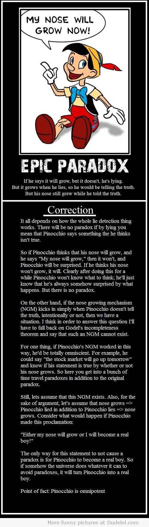 Pinocchio paradox solved