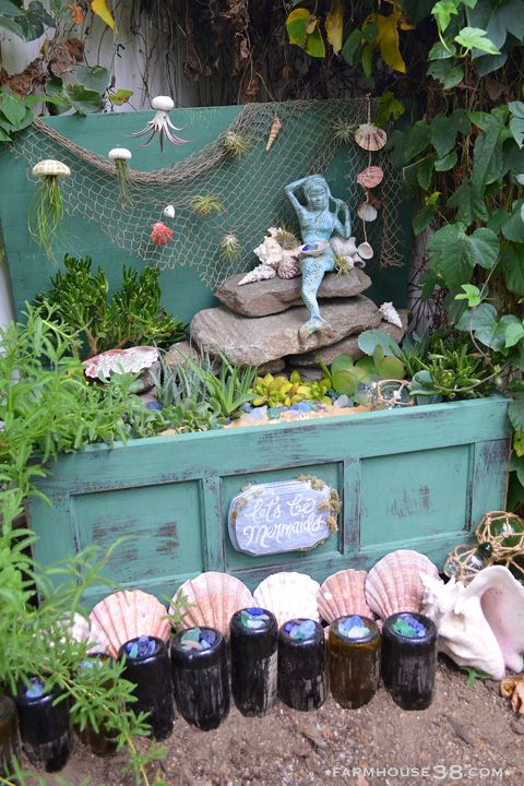 The Mermaid Garden at Farmhouse38.com. #mermaidgarden #fairygarden