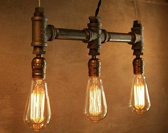 industrial style lighting. urban industrial craft quality made edison lamps pipe 3 bulb hanging pendant lamp item details black twisted rayon style lighting