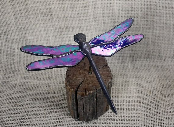 Blue Iridescent Dragonfly Stained Glass Sculpture by BerlinGlass