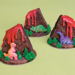 Dinosaur Volcano Brownies How-To