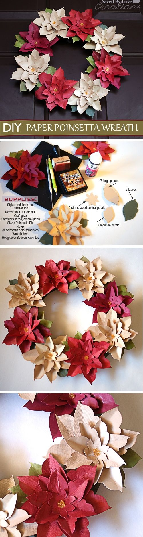 PaperCraft Poinsetta Wreath DIY Christmas | DIY Creator