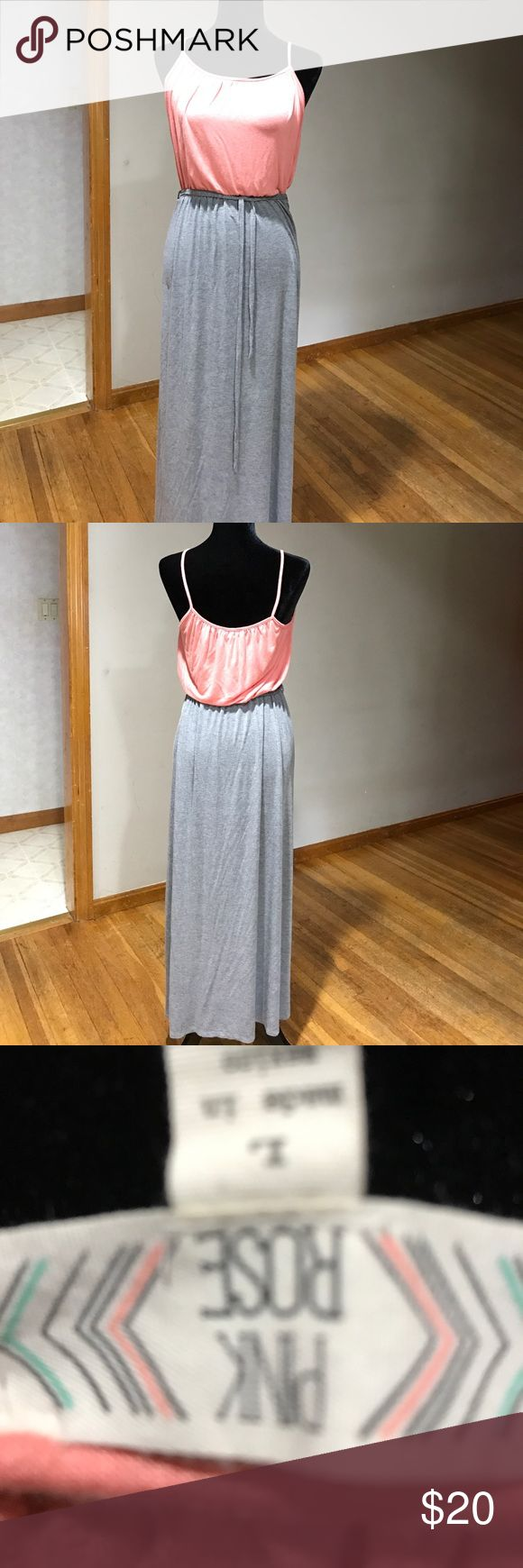 Pink Rose gray & coral maxi dress Pink Rose gray & coral maxi dress. Really good condition with a gray tie around the waist. Very soft & comfortable. Pink Rose Dresses Maxi