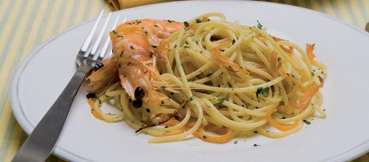 Spaghetti alla chitarra con zucca e mazzancolle ricetta