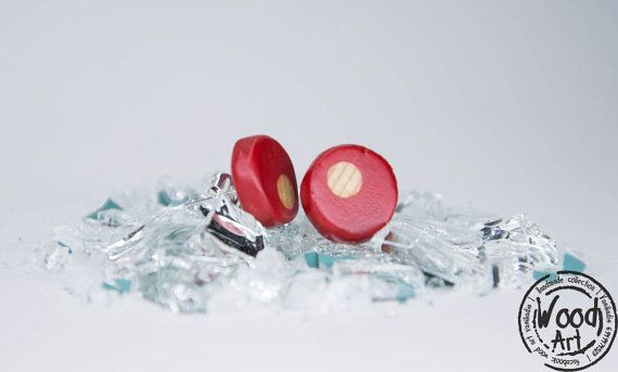 Red Post Earrings Wood Post Earrings Red Wood by TheWoodArtShop