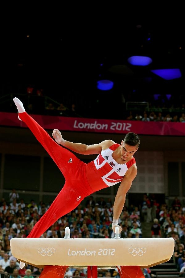 : Louis Smith of Great Britain competes on the pommel horse in the Artistic Gymnastics Men's Team final on Day 3 of the London 2012 Olympic Games at North Greenwich Arena on July 30, 2012 in London, England.