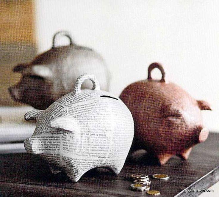 Roost Papier-Mache Piggy Bank *Next Day Shipping*
