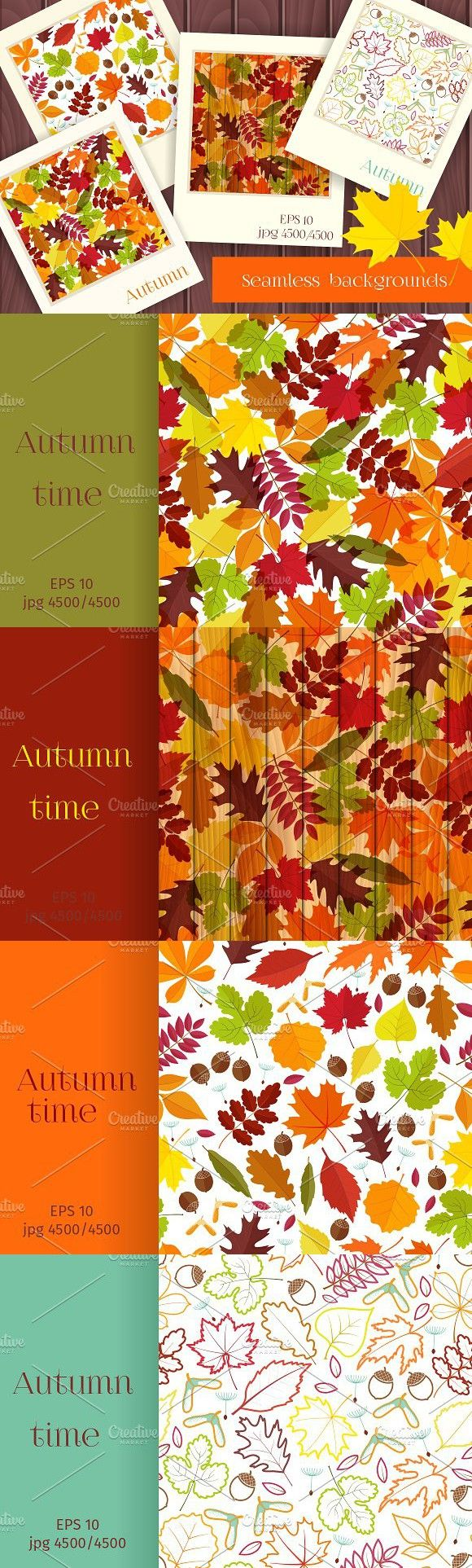Autumn time seamless backgrounds. Patterns