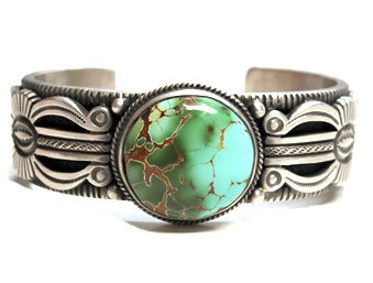Another Cuff Bracelet with Carico Lake Turquoise by Calvin Martinez from Perry Null Trading