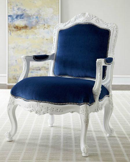 Royal dark blue upholstery chair
