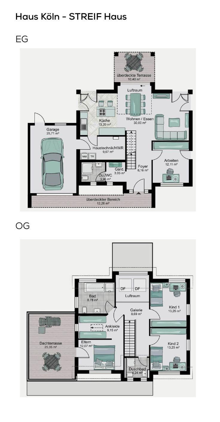 Grundriss Einfamilienhaus mit Garage, Galerie & Sa…