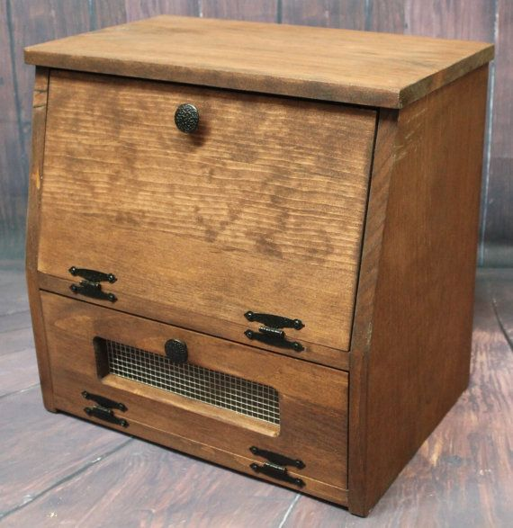 Wooden Bread Box Kitchen Storage Wood Vegetable Potato Bin Primitive Rustic Cupboard Onion Potatoes Country K Cup holder Countertop & 668 best Great Gift ideas - Any Occasion images on Pinterest ...