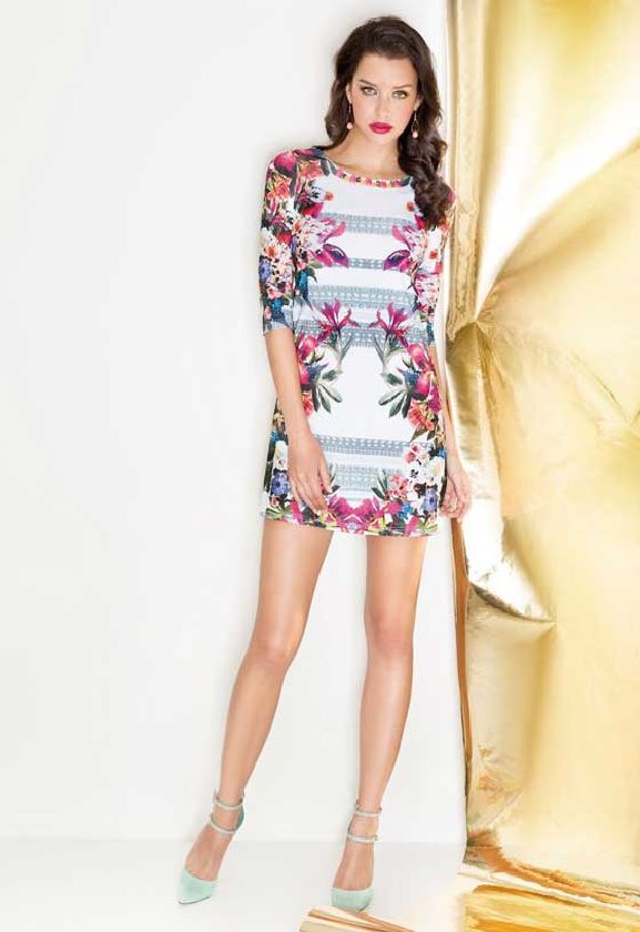Cabotine vestido estampado floral con manga al codo. Colección Primavera Verano 2014 #vestidos