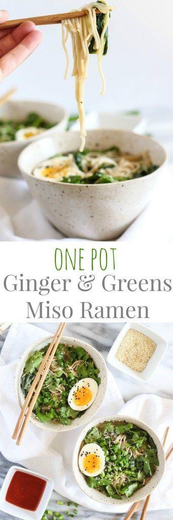 One Pot Ginger & Greens Miso Ramen - pumpkinandpeanutbutter