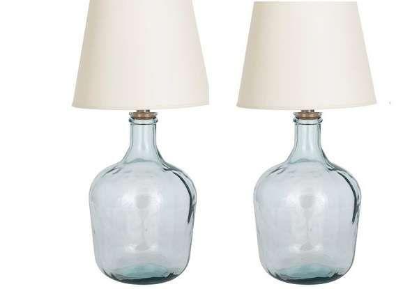 Archiwalne: komplet lamp 2x lampa stołowa szklana butelka butla wina marine Lubawa • OLX.pl