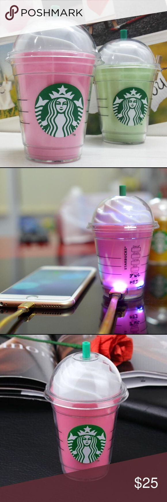 Cute Starbucks Frappe PowerBank Pink and Green Tea Ever feel drained? Like a Starbucks might hit the spot?? You're phone does too! Tech specs: 5200mAh USB Port Cute AF! Starbucks Accessories Phone Cases