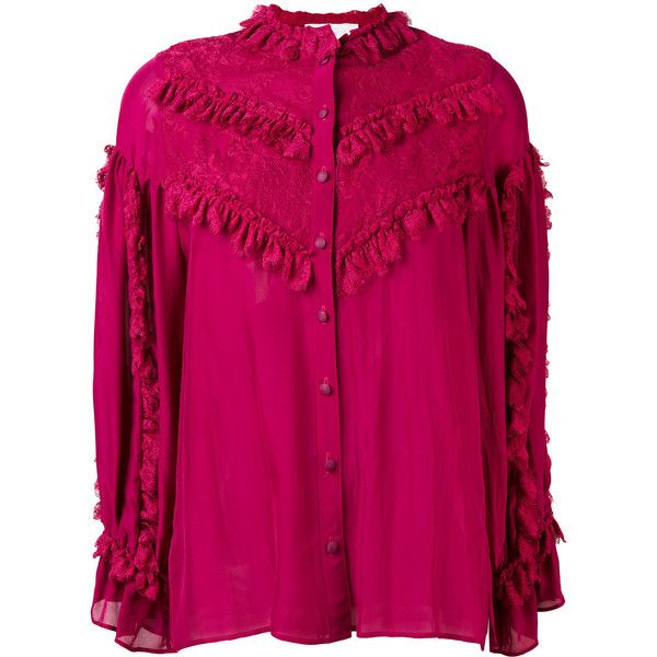 Koche ruffle detail blouse (£720) ❤ liked on Polyvore featuring tops, blouses, pink, long sleeve blouse, lace overlay top, lace top, long sleeve tops and long sleeve ruffle blouse