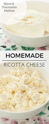 Making homemade ricotta is so simple& satisfying. This ricotta cheese recipe can be made on the stove or in the Thermomix.