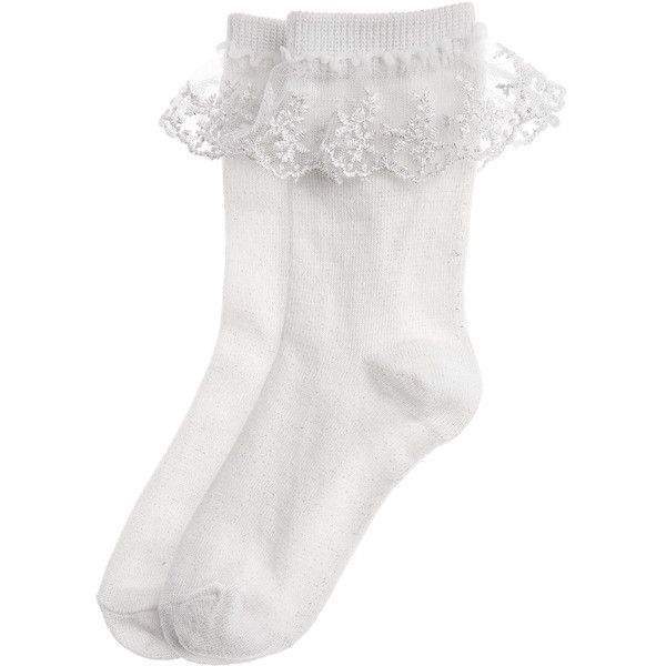 Monsoon Sparkly Lace Socks ($10) ❤ liked on Polyvore featuring intimates, hosiery, socks, accessories, underwear, lacy socks, sparkle socks, lace hosiery, lace trim socks and sparkle hosiery