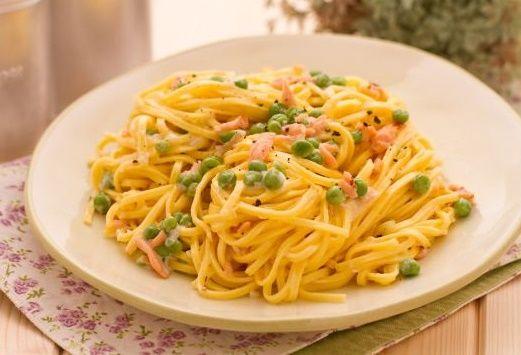 Ricetta spaghetti con salmone e piselli