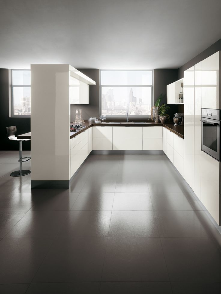 "The ""Mirage"" partition viewed from the kitchen's working and service zone 