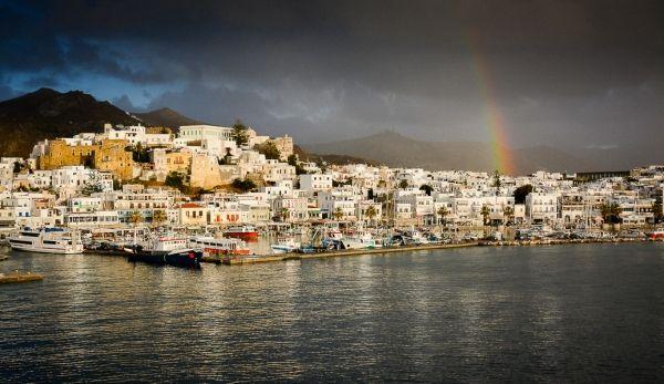 Dark autumn clouds over Naxos island