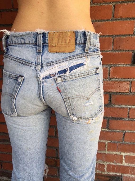 70s Vintage LEVIS 505 Jeans 27 Waist Bar Tack by HuntedFinds