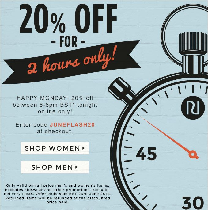 20% off for two hours only