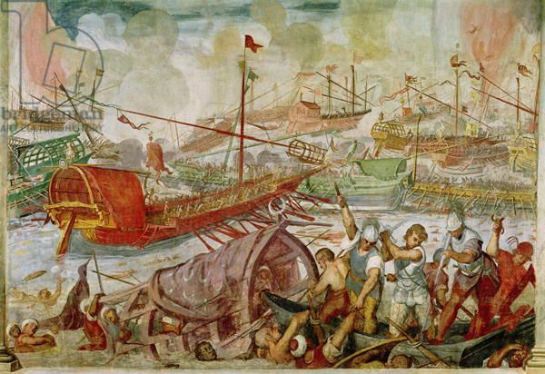 The Battle of Lepanto, October 1571, 1600 (mural). .. battle fought between allied Christian forces under Don John of Austria (1547-78) and the Ottoman Turks during Ottoman campaign to acquire Venetian island of Cyprus; allied forces were victorious; Location:  Villa Barbarigo, Noventa Vicentina, Italy