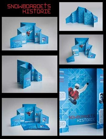 Snowboard's History by Olesya Kurulyuk    The shape and pattern of the brochure was inspired by mountains.  Visit our website: www.printandmail4u.com/    © NO COPYRIGHT INFRINGEMENT INTENDED. We don't own this image. All rights and credit go directly to its rightful owner.    #brochure   #brochuredesign