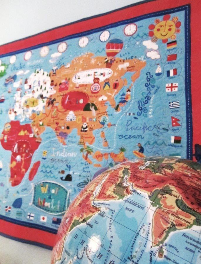 строчки-стежочки : Весь мир перед тобой. Карта Мира на ткани.