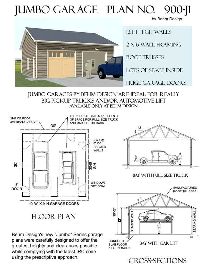 900 J1 30 X 30 Behm Design Garage Plan Garage Plans Car Garage