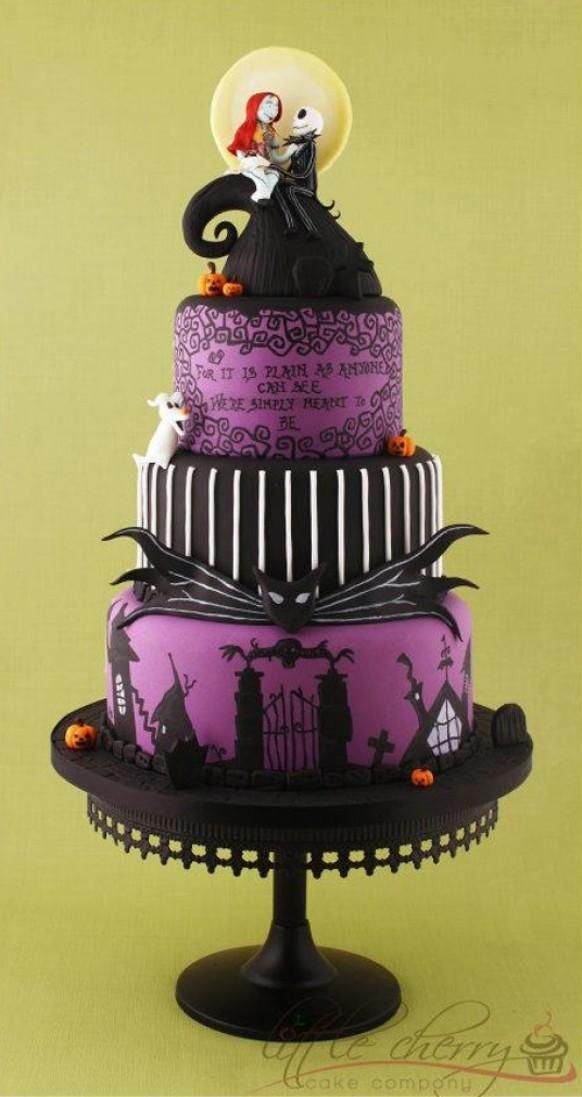 Peinte à la main Nightmare Before Christmas Cake Wedding Violon ♥ Tim Burton Tiered Wedding Cake Fondant Violet Halloween #1188454