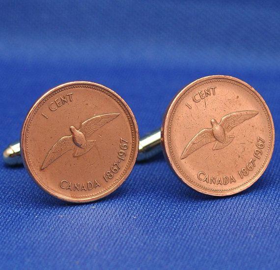 CANADA Dove Bird 1967 Penny 1 Cent Coin  New by SubwayCufflinks, $12.99