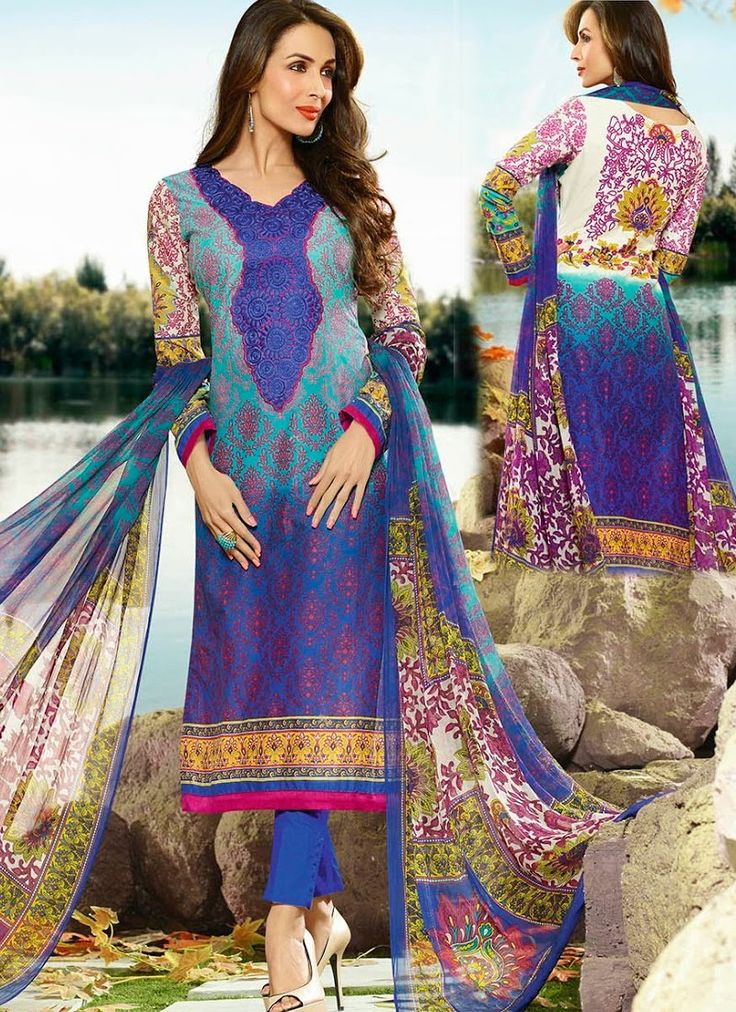 Blue Ravishing Cotton Palazzo Suit With Printed Work