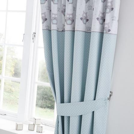 Dunelm Little Owls Nursery Blackout Pencil Pleat Curtains in Duck Egg Blue (168cm x 137cm)