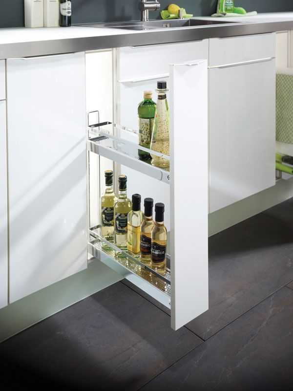 150mm Pull-out - three different specifications give you the flexibility to store bottles, baking trays or tea towels and cleaning equipment.