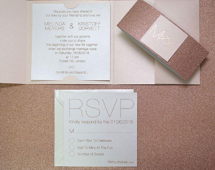 Glitter Rose #GoldWeddingInvitations - Infinity #RoseGold - @PolinaPerri